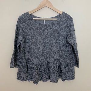 Free People • Gray Paisley ¾ Sleeve Top